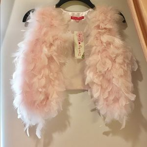 Girls' Pink Feathered Vest